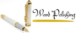 White & Gold Pen with Black Word Polishing Text & Gold Undersplotch